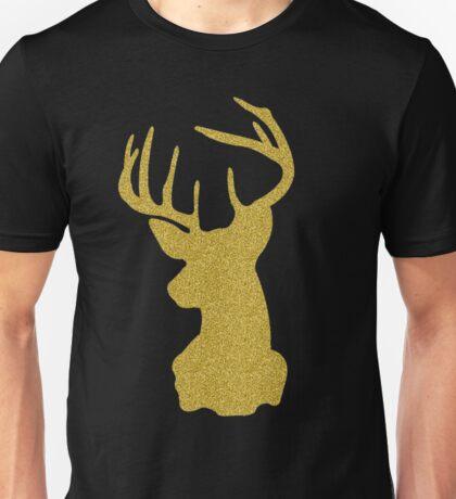 Deer Head Antlers Boho Reindeer Hipster Faux Bling Gold Glitter Christmas Holiday Trendy Unisex T-Shirt