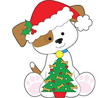Cute Puppy Santa Photographic Print
