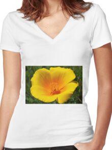 Big Poppy Flower Golden Orange Yellow Silky Women's Fitted V-Neck T-Shirt