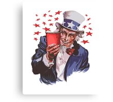 Uncle Sam Solo Cup T-Shirt - College Party Drinking Alcohol Canvas Print