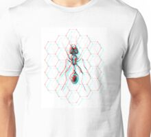 3D Ant Illustration w/ Hexcagons - Works with 3D glasses!!! Unisex T-Shirt