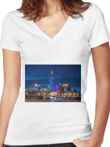 Palace of Culture and Science Women's Fitted V-Neck T-Shirt