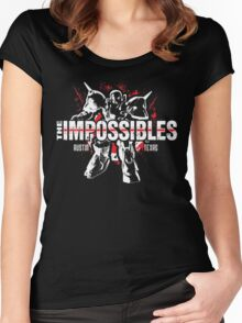The Impossibles Logo w/ Robot - White and Red Women's Fitted Scoop T-Shirt