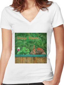 lounge lizards... Women's Fitted V-Neck T-Shirt