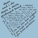 Quotes of the Heart - Destiel (Black) by fairy911911