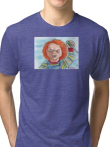 Hi, I'm Chucky. Wanna play? Tri-blend T-Shirt