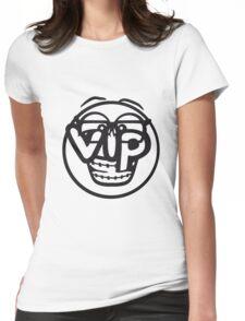 gesicht rund kreis smile nerd geek hornbrille schlau intelligent lustig freunde team crew party feiern comic cartoon cool vip wichtig very importent person design  Womens Fitted T-Shirt
