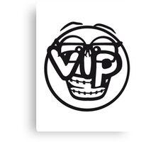 gesicht rund kreis smile nerd geek hornbrille schlau intelligent lustig freunde team crew party feiern comic cartoon cool vip wichtig very importent person design  Canvas Print