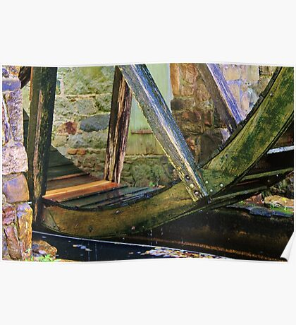 Old Water Wheel Poster