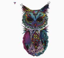 Colorful Mandala Ornament Owl Artwork T-Shirt by Cyrca Originals Baby Tee