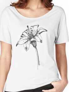 White Lilly Artist Sketch Women's Relaxed Fit T-Shirt