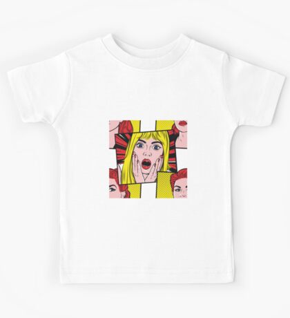 Pop Art Surprised Girl Kids Tee