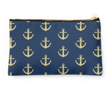 Golden Anchor Pattern Studio Pouch