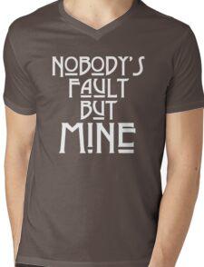 NOBODY'S FAULT BUT MINE - solid white Mens V-Neck T-Shirt