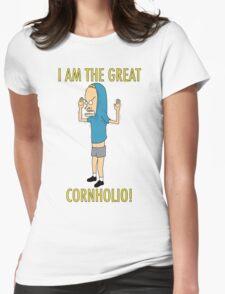 CORNHOLIO! Womens Fitted T-Shirt
