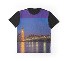 Big Ben, Houses of Parliament and Westminster Bridge at Night Graphic T-Shirt