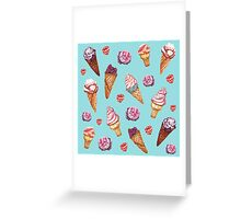 Pink and Blue ice cream pattern Greeting Card