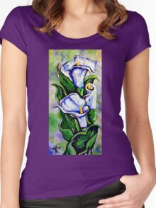 Lily Blue Flowers Purple Green Yellow Beautiful Women's Fitted Scoop T-Shirt