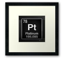 Periodic Table of Elements - Platinum - Pt - Platinum on Black Framed Print