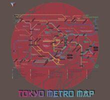Tokyo Metro Map Japanese City Urban Style T-Shirt by Cyrca Originals One Piece - Short Sleeve