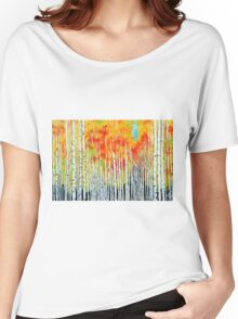 Autumn Aspen Trees Quaking Colorado Colorful Forest Women's Relaxed Fit T-Shirt