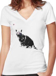 Black Cat for Kitten Cat Lovers Artwork T-Shirt by Cyrca Originals Women's Fitted V-Neck T-Shirt