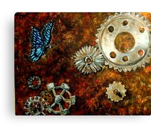 Butterfly and Rusty Cogs Canvas Print
