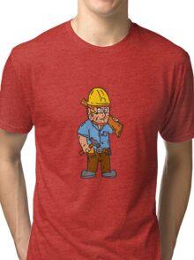 Carpenter Builder Hammer Wood Plank Cartoon Tri-blend T-Shirt