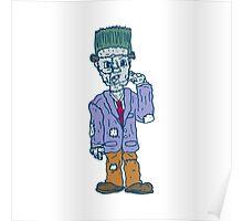 Frankenstein Monster Standing Cartoon Poster