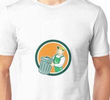 Garbage Collector Carrying Bin Circle Cartoon Unisex T-Shirt