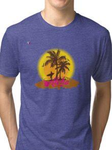 Hawaii Island Palm Tree Sunset Aloha Holidays T-Shirt  Tri-blend T-Shirt
