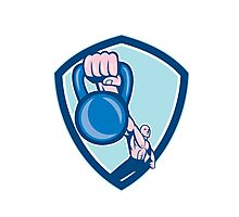 Weightlifter Lifting Kettlebell Shield Cartoon Photographic Print
