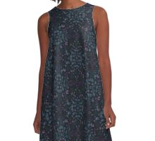 Midnight Flowers - Navy, Blue and Purple A-Line Dress