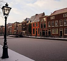Frozen Canal, Leiden, Holland by Ludwig Wagner
