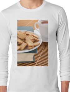 White plate with cookies on the old book Long Sleeve T-Shirt