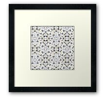 Mysterious Flowers -  Cream Navy Yellow Framed Print