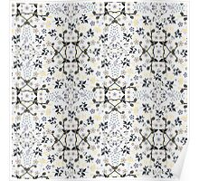 Mysterious Flowers -  Cream Navy Yellow Poster
