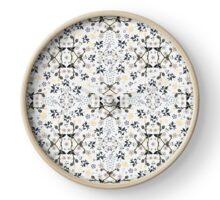 Mysterious Flowers -  Cream Navy Yellow Clock