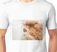 Oatmeal cookies and milk for breakfast close-up Unisex T-Shirt