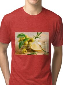 Green pitted olives decorated with herbs and rosemary Tri-blend T-Shirt