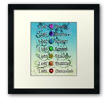 I AM. Chakras - Black Floral, Blue Background Framed Print