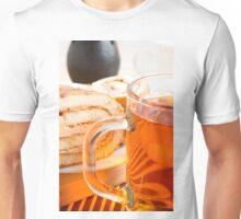 Transparent glass mug with hot tea and chocolate cake Unisex T-Shirt