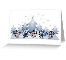 Dancing Snowman & Reindeer Greeting Card