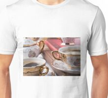 Vintage coffee cups with hot espresso and retro dishware Unisex T-Shirt