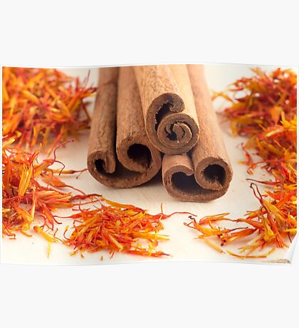Macro view of the sticks of cinnamon and saffron Poster