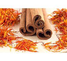 Macro view of the sticks of cinnamon and saffron Photographic Print