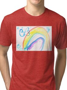 Butterfly on a rainbow - child's drawing Tri-blend T-Shirt