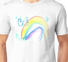 Butterfly on a rainbow - child's drawing Unisex T-Shirt
