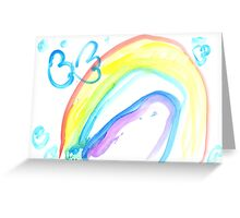 Butterfly on a rainbow - child's drawing Greeting Card