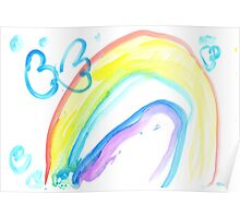 Butterfly on a rainbow - child's drawing Poster